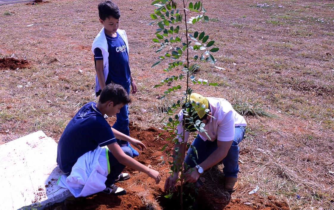 Alunos plantam mudas em Dia da Árvore